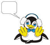 Penguin in headphones next to the blank callout. Cute penguin boy in blue bow and warm headphones lying and dreaming about something royalty free illustration