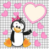 Penguin with heart frame Stock Images