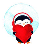 Penguin with heart and headphones. Watercolor illustration isolated. Cartoon penguin for babies and little kids. Cartoon penguin character. Penguin with heart Stock Photos