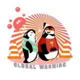 Penguin heat stroke cartoon character walking on the street Royalty Free Stock Images