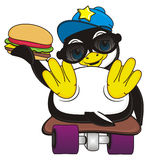 Penguin hold a burger. Stylish penguin boy riding on the skateboard and hold a burger Royalty Free Stock Photography
