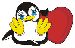 Penguin hold a heart Royalty Free Stock Images