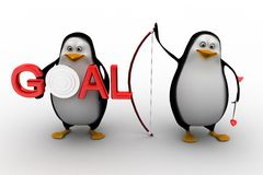 Penguin holding holding bow and arrow with  Goal illustration Stock Photos