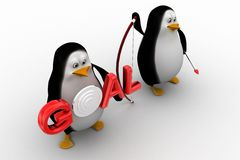 Penguin holding holding bow and arrow with  Goal illustration Stock Photo