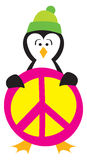 Penguin Holding a Peace Sign Royalty Free Stock Images
