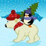 Penguin holding spruce on polar bear Royalty Free Stock Photos