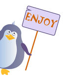 Penguin holds a sign with an inscription `ENJOY`. Vector illustration vector illustration