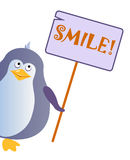 Penguin holds a sign with an inscription `SMILE`. Vector illustration stock illustration