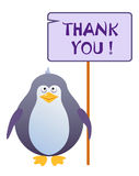 Penguin holds a sign with an inscription thank you. Penguin holds a sign with an inscription `THANK YOU`. Vector illustration royalty free illustration