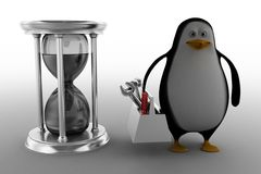 Penguin With Hour Glass Stock Image