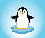 Penguin on Ice. A cute little penguin on a bit of ice, looking happy. Editable  illustration Royalty Free Stock Images