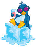 Penguin on Ice. Cute vector penguin wearing sunglasses relaxing on a block of ice enjoying a beverage. Drawn in a humorous cartoon style vector illustration