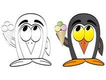 Penguin with ice cream Stock Image
