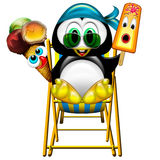 Penguin with Ice Cream 2. A sweet little penguin with Ice Creams Stock Images