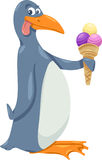 Penguin with ice cream cartoon Royalty Free Stock Image