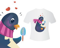Penguin with ice cream. T-shirt concept of a  in a scarf. Vector illustration for textile, print and clothes Royalty Free Stock Photo