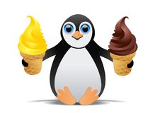 Penguin with ice cream Stock Photo