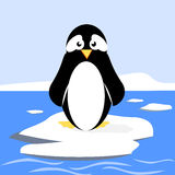 Penguin On Ice Floe. Cartoon penguin standing on an ice floe stock illustration