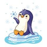 Penguin on an ice floe floats on the sea. Stock Photo