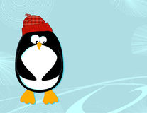 Penguin on ice landscape. Styled cartoon of a penguin in a knit cap on an ice landscape backdrop Stock Images