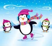 Penguin Ice Skating. Cartoon illustration of a penguin in a striped knit cap, earmuffs, and striped scarf that is ice skating, while two smaller baby penguins in Stock Images