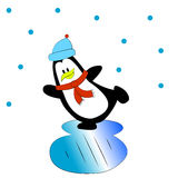 Penguin on ice. Winter day penguin on ice skates. Baby card. Happy New Year, Merry Christmas, a holiday Stock Image