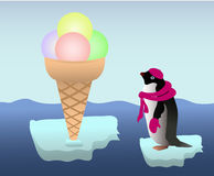 Penguin with an icecream Royalty Free Stock Images