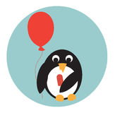 Penguin with icecream and balloon Royalty Free Stock Image
