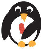 Penguin with icecream. Penguin holds ice cream in wings. Vector illustration Stock Photo