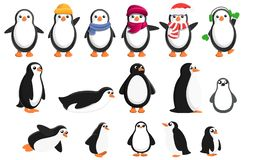 Penguin icons set, cartoon style vector illustration