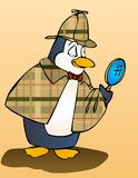 Penguin inspector. Penguin Sherlock Holmes with magnifier Royalty Free Illustration
