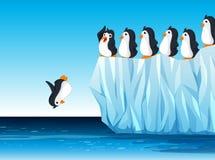 Penguin jumping in the ocean. Illustration Stock Photo