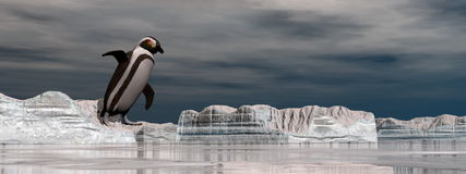 Penguin jumping into the water - 3D render Royalty Free Stock Image