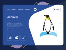 Penguin Landing page website template design. Quality One Page penguin Website Template Vector Eps, Modern Web Design with flat UI elements and landscape Royalty Free Stock Photos