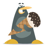 Penguin with a large ice cream Royalty Free Stock Photo