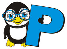 Penguin with letter P Stock Photos