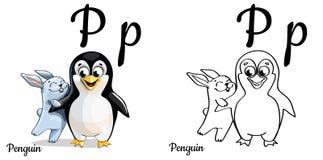 penguin Lettera P, pagina di coloritura di alfabeto di vettore Illustrazione Vettoriale