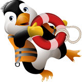 Penguin lifeguard. Funny illustration with penguin with life ring running to help drawn in cartoon style royalty free illustration