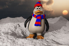 A Penguin Looking Angry In Snow Royalty Free Stock Photo