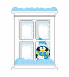 Penguin looks from fozen window Stock Images
