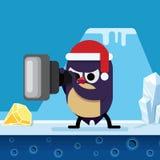 The penguin looks into the telescope. A cartoon character. Chris Stock Photo