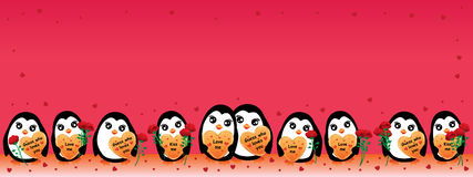 Penguin love banner. This illustration is design penguin with love in banner size Royalty Free Stock Photography