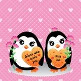 Penguin love card seamless pattern Royalty Free Stock Photo
