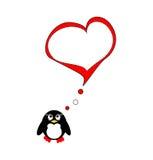 Penguin on love Stock Image