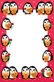 Penguin love frame. This illustration is design abstract penguin with frame template and red color background and loves decoration Royalty Free Stock Images