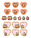 Penguin love set Stock Image