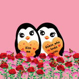 Penguin lover flower field Stock Photography