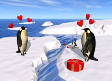 Penguin lovers Royalty Free Stock Photo