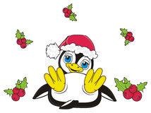 Penguin lying next to the Christmas leaves. Penguin in red Santa's hat lying near the Christmas leaves and berries royalty free illustration
