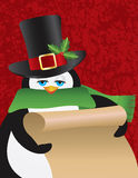 Penguin Male Holding Scroll Illustration Stock Images